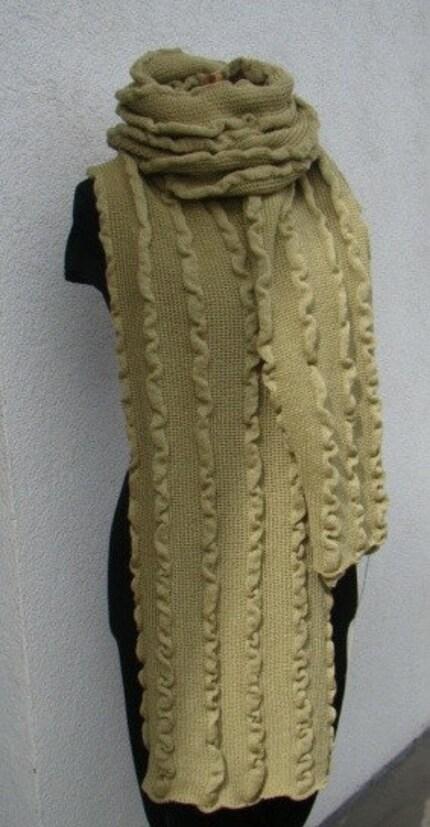 Olive green huge ruffled shawl