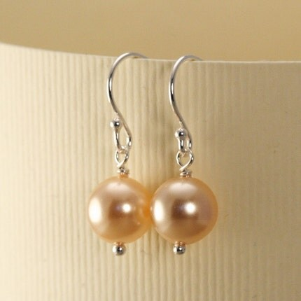 Pearl Earrings - Blush and Sterling Silver