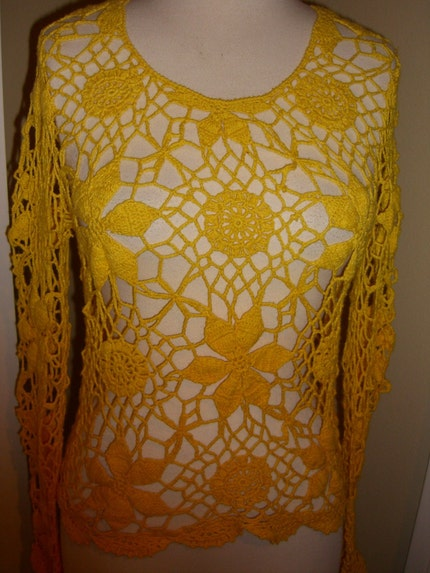 Vintage Crochet Sweater Floral Hippie Bell Sleeves  Small Medium