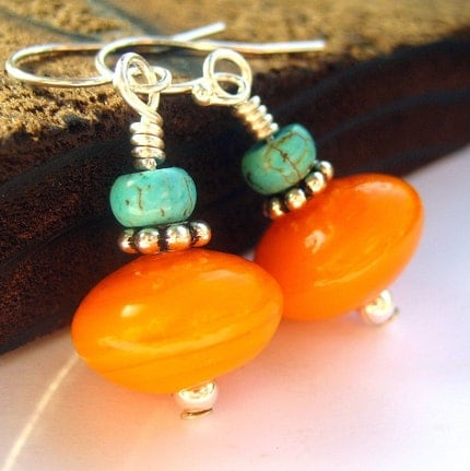 Turquoise orange and sterling silver earrings by littlebugjewelry sterling