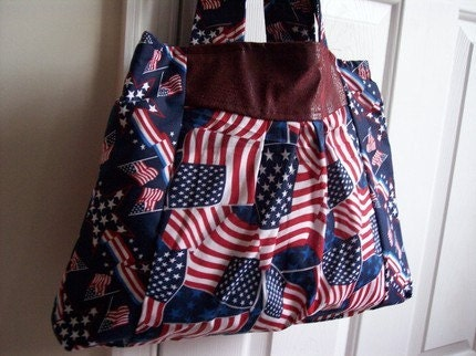 Slim Tote with Patriotic Americana Prints
