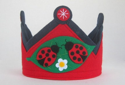 Ladybug Felt Crown -- RESERVED  for happyhoundcreative