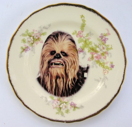 Chewbacca Portrait Plate - Altered Antique Plate