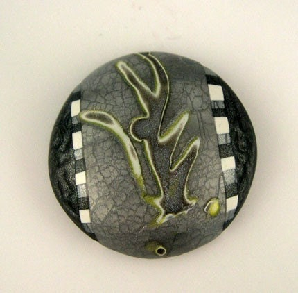 Polymer Clay Cabachon, Yellow, White, Silver, Charcoal