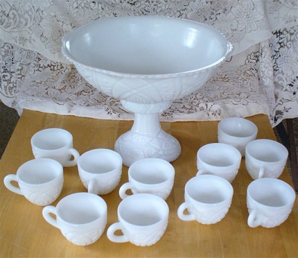 Fabulous Vintage McKee Milk Glass Punch Set Complete