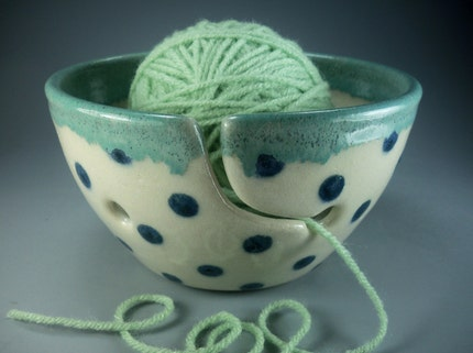 Sweet on Mom Polka Dot Yarn Bowl, Hand Made Stoneware Pottery