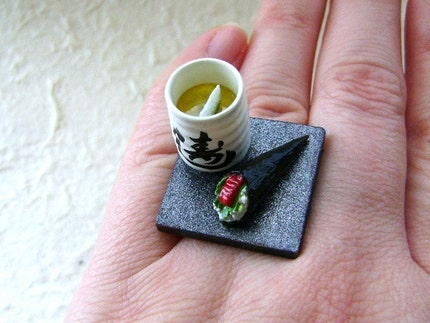 Kawaii Cute Japanese Ring - Green Tea And Sushi