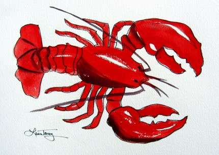 Live Maine Lobster, Watercolor Print, 9 by 12