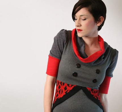 Cowl Neck  Red and Gray Top