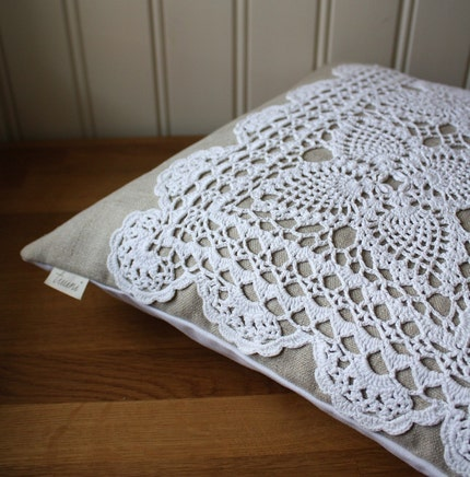 linen and lace -pillow cover, OOAK