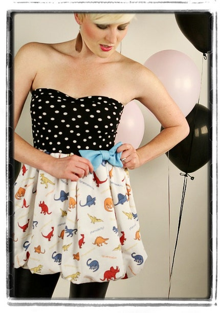 Polka Dot DINOSAUR Bubble Dress