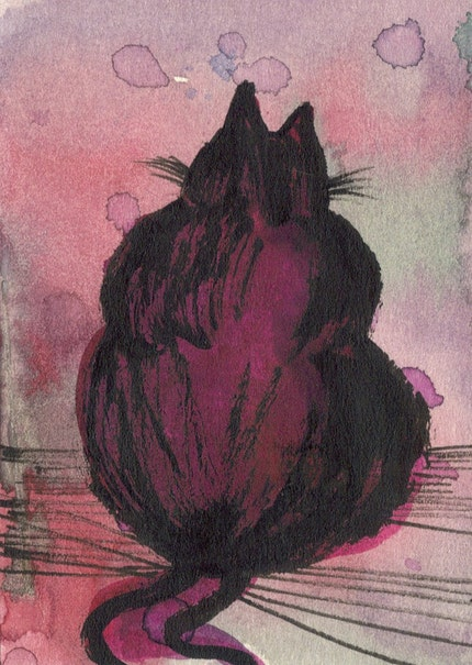 Big Fat Cat Original Painted ACEO Art Card