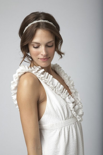 BEST SELLER - Bridal Crystal and Rhinestone Beaded Headband or Halo - Featured in NY MAGAZINE