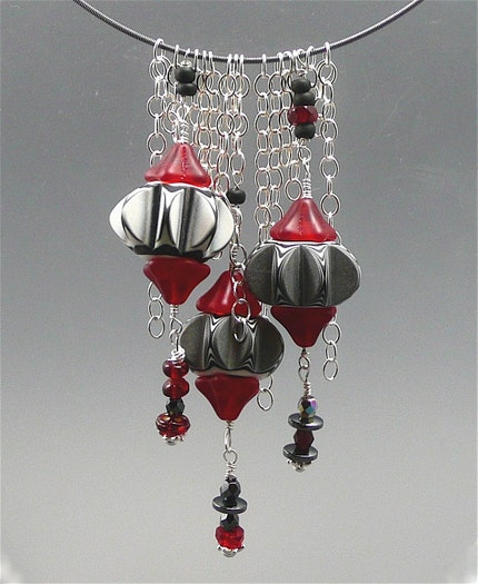 Black, White and Red Challenge Necklace