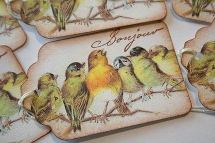 Gift Tags - Handmade Singing Bird Bonjour
