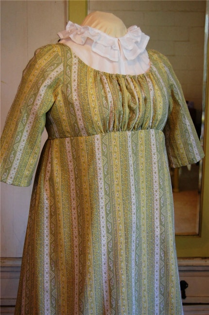 The Story Of A Seamstress Green Linen Regency Dress And