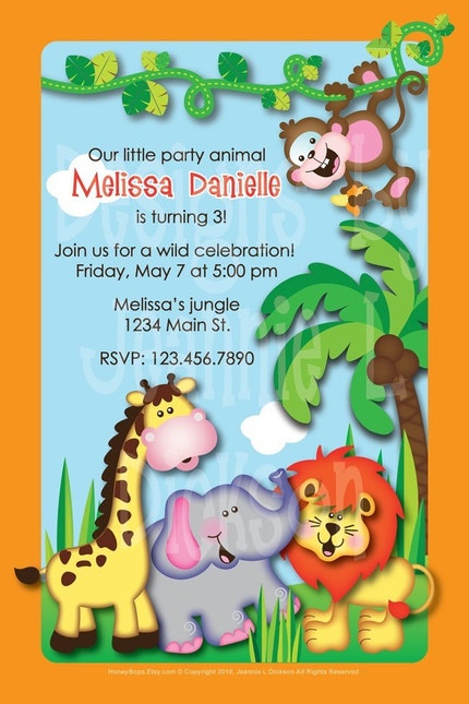 Jungle Party Animals Announcement Birthday Invite  by HoneyBops from etsy.com