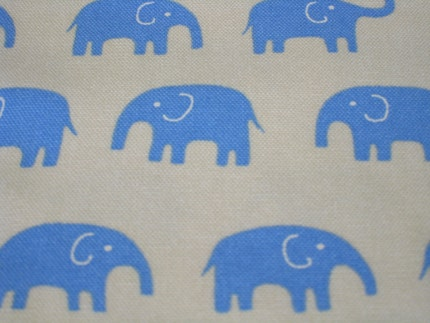 Japanese Fabric - Blue Elephants on White - Half Yard