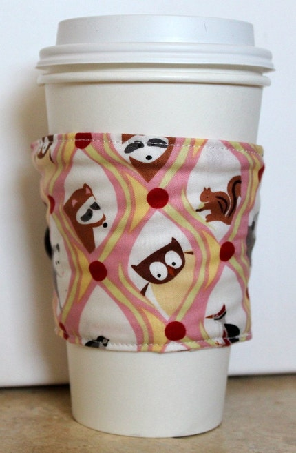 Happy Family  Reversible Coffee Cozy