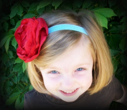 FREE SHIPPING--Sweet and Sassy Beautiful Deep Red Handmade Silk Flower on Interchangeable Soft Satin Stretch Aqua Headband ALL SIZES available-- Newborn, Baby, Toddler through Adult