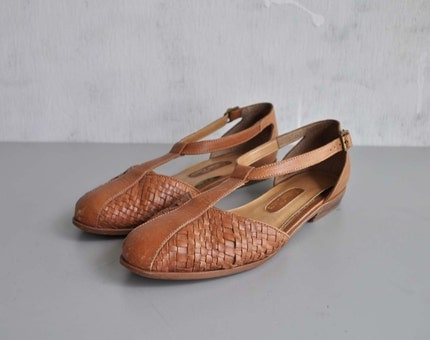 Vintage WOVEN Leather T Strap Flats by MariesVintage on Etsy from etsy.com
