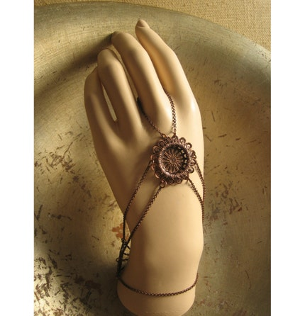 bahiat -  filigree medallion on antique copper chain web - ring and back of the  hand bracelet - panja