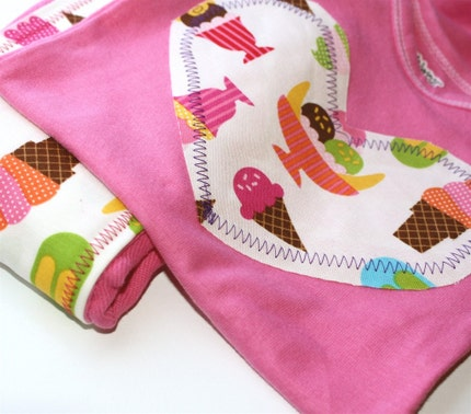 Ice Cream sweets hand-dyed pink burp cloth