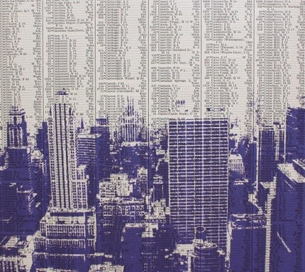 Dark City no3 - PURPLE Edition - NEW YORK CITY  - LARGE Print made on 1929 Atlas Page - LIMITED EDITION