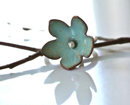 turquoise enamel bell flower ring