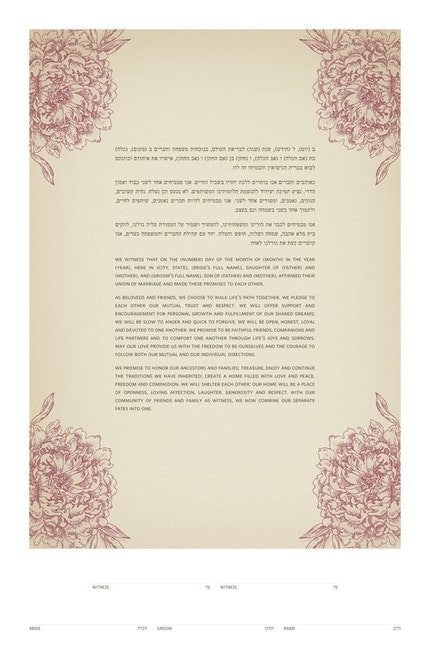 Ketubah - Antique Hydrangeas on Solid Color