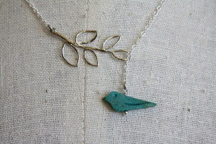 Carved Turquoise Birdie and Leaf Lariat with Sterling Silver Chain