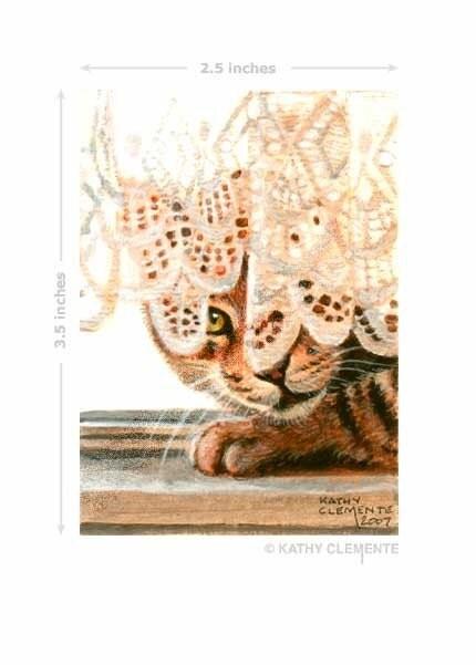 ACEO Reproduction Print Cat Lace Curtains Hiding KMCoriginals