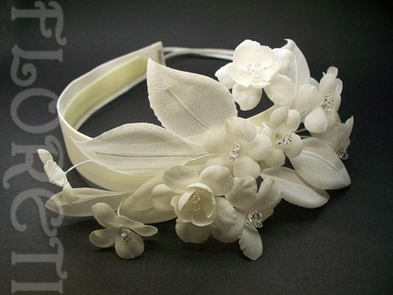 Ivory Cherry N Stephanotis Couture Bridal Headband w by floreti from etsy.com