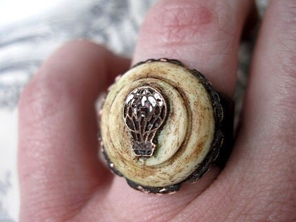 Airborn. Antique Pin and Bone Ring.