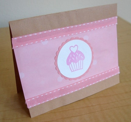 Cupcake with Sprinkles and Heart Hand Carved Rubber Stamp