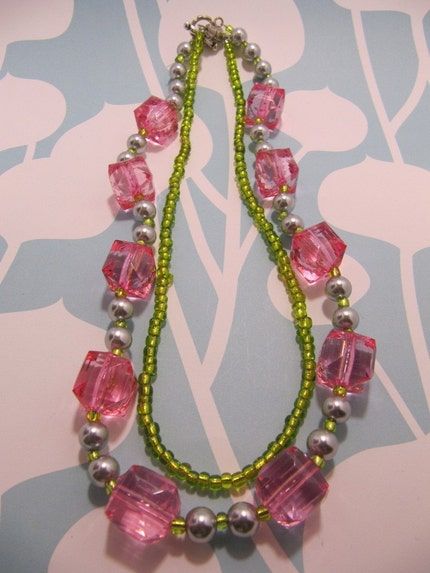 Pink and Lime Chunky Necklace