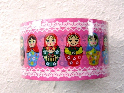 Kawaii Cute  Japanese Sticker Tape Matryoshka Russian Dolls PINK