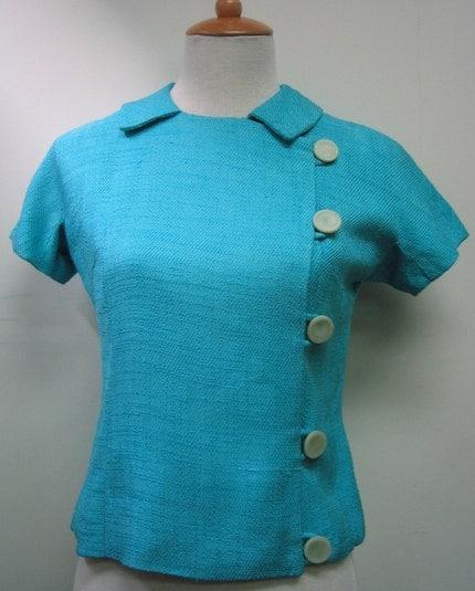 Aqua/Turquoise Silky Textured Vintage Top/Jacket