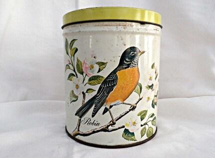 Vintage Storage Tin With Robin