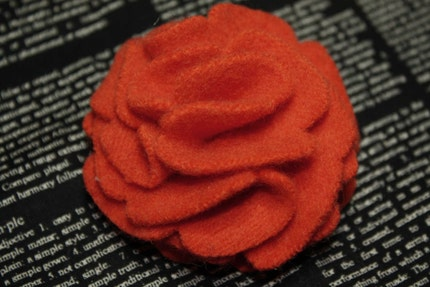 Upcycled Orange Felted Wool Flower Pin, Small