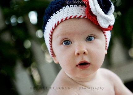 THE MADISON Crocheted Beanie Size 3-6 Months Red White Blue