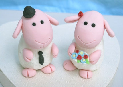 Unique, cute sheeps wedding cake toppers with heart shaped base