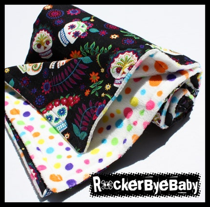 Sugar Skulls and polkadots baby or toddler blanket Punk Rock pink green blue pink black with rainbow dots minky