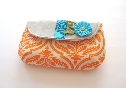 Stardust Clutch in Orange Damask