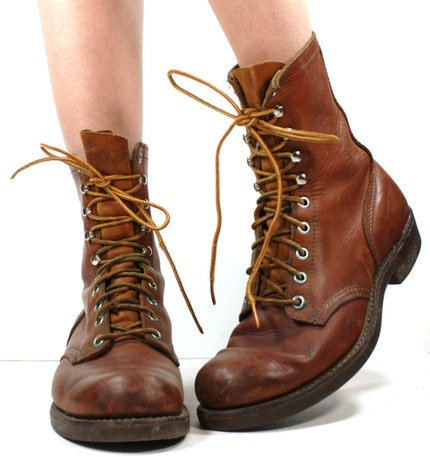 Vintage grunge granny COMBAT barn boot riding Red WING womens Brown cowboy pixie lace up 9.5 M B