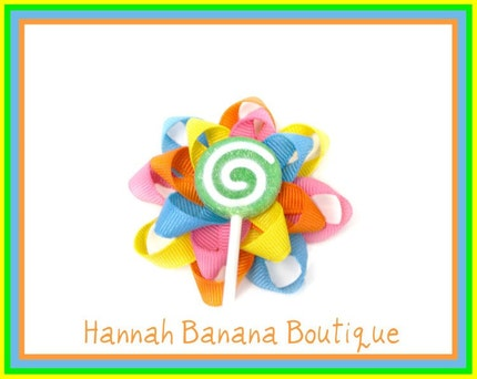 Lollipop Flower Bow-Summer Bright colors
