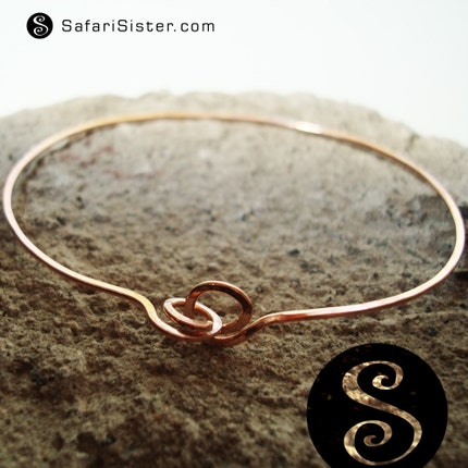 NEW DESIGN Handmade Hammered Bangle Recycled Brass or Copper