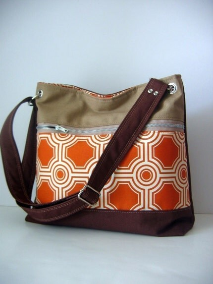 Colorblocked in Tangerine with Zipper Front Pocket (adjustable strap)