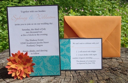 Wedding Invitation - Turquoise and Orange Flower (sample)