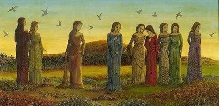 Nine Women with Birds PRINT